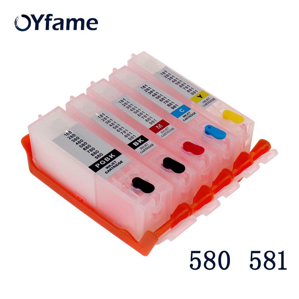Oyfame 5 peças 580 581 cartucho para canon pgi580 cli581 cartucho recarregável com chip de arco para canon tr7550 tr8550 ts6150 ts6151