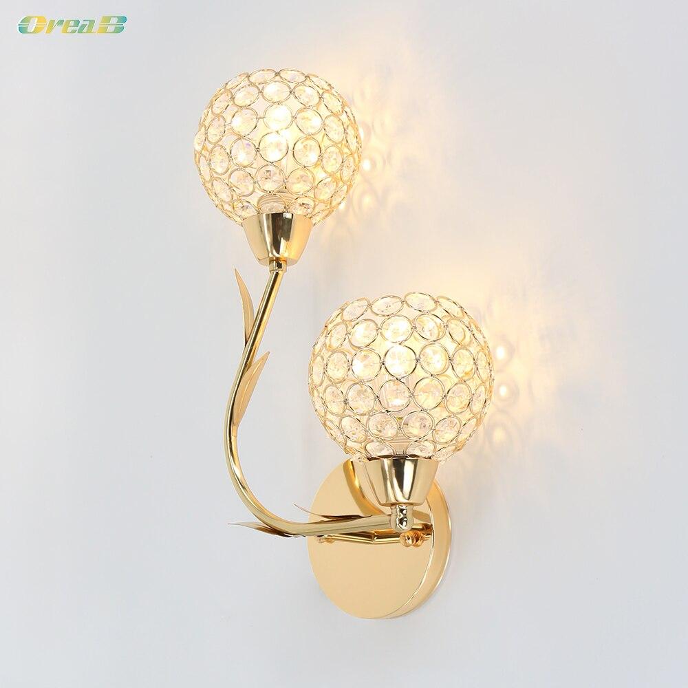 8w E12 moderno Luz de pared de cristal de dormitorio Lámparas lado doble de Color dorado para la decoración de interiores Oreab diseño