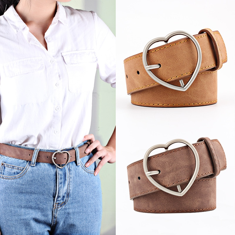 Women Leather Belt Fashion Round Metal Buckle Female Leisure Dress Jeans Wild Without Pin Strap All-