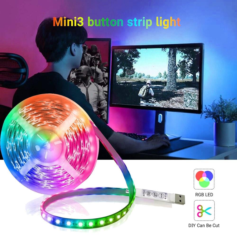 Tira de luces LED Flexible con Bluetooth, 1M, 2M, 3M, 4M, 5M,...