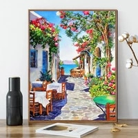gatyztory flower street frame diy painting by numbers landscape canvas colouring artwork handpainted wall decor