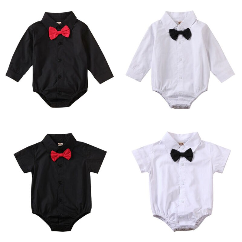 Bebé recién nacido Bodi de bebé niño 2019 Caballero manga larga blanco negro otoño arco trajes mono ropa