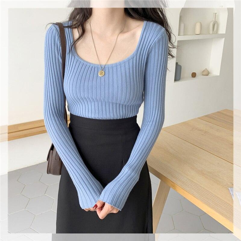 CMAZ 2021 Summer Slim Knitted T-shirt Women Korean Long Sleeve Square Neck Ins Fashion Streetwear So