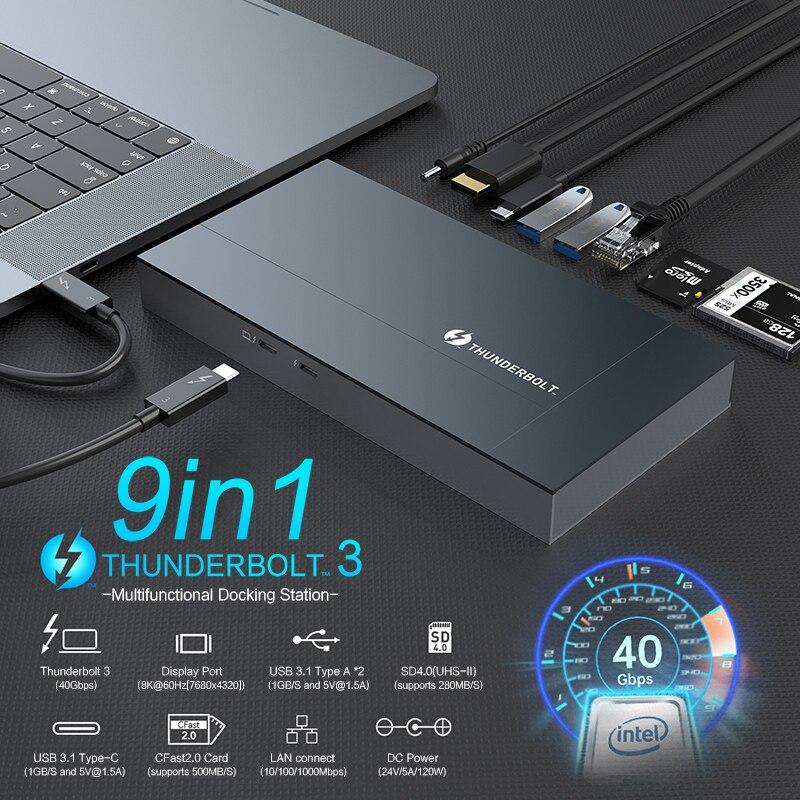 HUWEI الصاعقة 3 قفص الاتهام دعم 40Gbps USB C HUB إلى 8K ديسبلايبورت تيار مستمر USB-C الطاقة كابل الفاصل ميناء لابل ماك بوك اير/برو