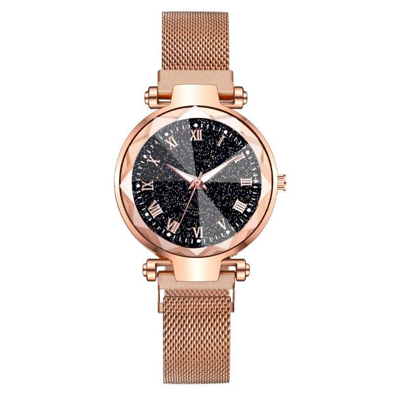 Luxury Female Quartz Watch Magnet Gold Stainless Steel Roman Numerals Diamond Starry Sky 3D Glass La