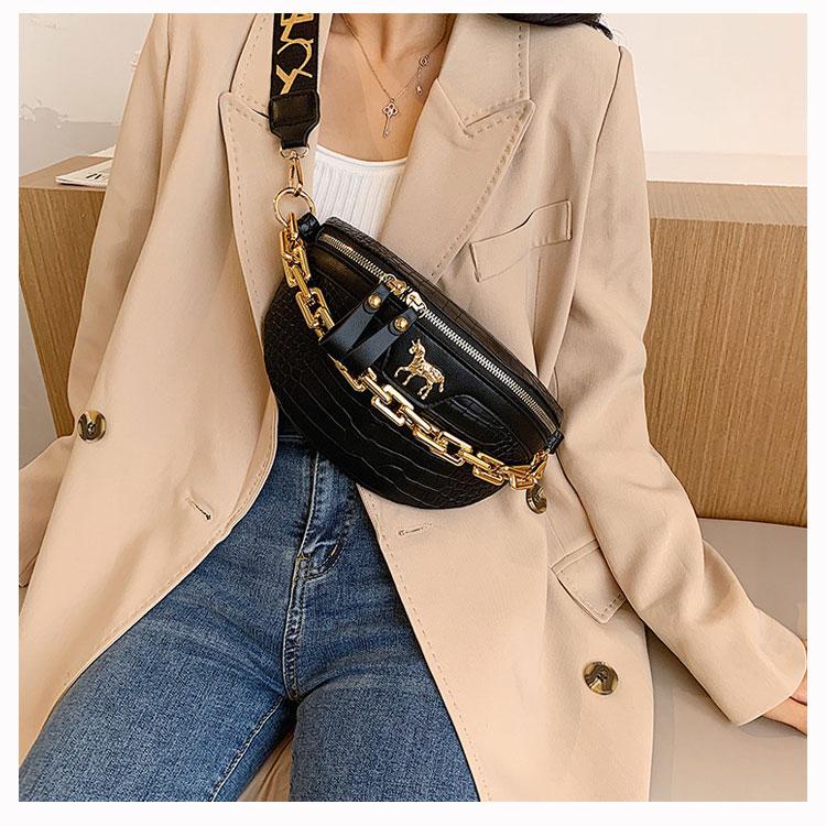 New Chain Fanny pack Women Leather Waist Bag Luxury Brand Chest Mini Female Belt Bags Fashion Ladies Shoulder Crossbody