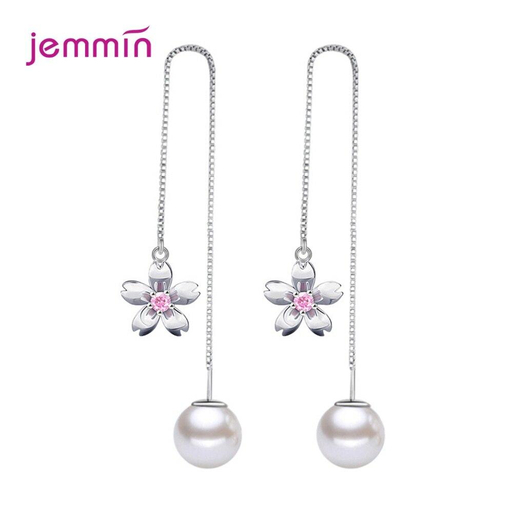 Pendientes colgantes de plata fina 925 de cristal con forma de gota de perla de imitación con flores coreanas, joyería de boda de diseño largo para mujer