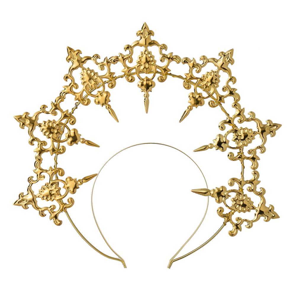 Gothic Lolita Black Rose Devil Feather Wings Goddess Sun Halo Crown Headband Gorgeous Vintage Mary Baroque Tiara Headwear