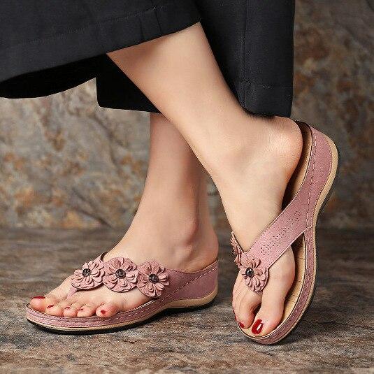 Sandalias de estilo bohemio para Mujer y zapatos de tacón con flores...