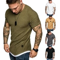 casual mens t shirts pleated wrinkled slim fit o neck short sleeve muscle solid casual tops shirts summer basic tee new