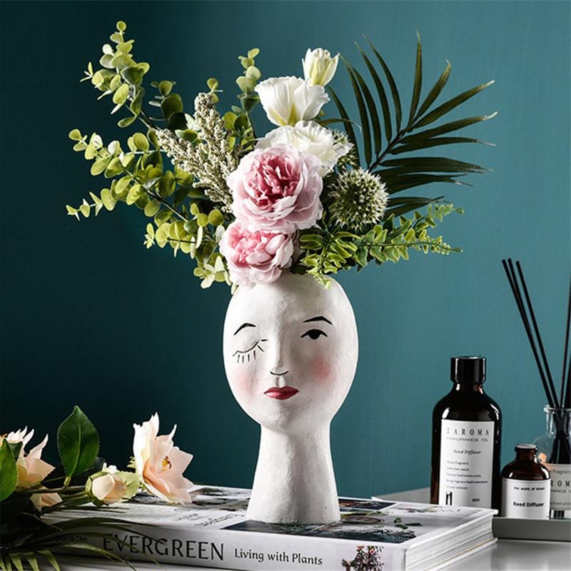 Cabeça humana nordic vaso rosto humano vaso de flores decoração olhos grandes boneca resina figura escultura artesanato arranjo flor recipiente