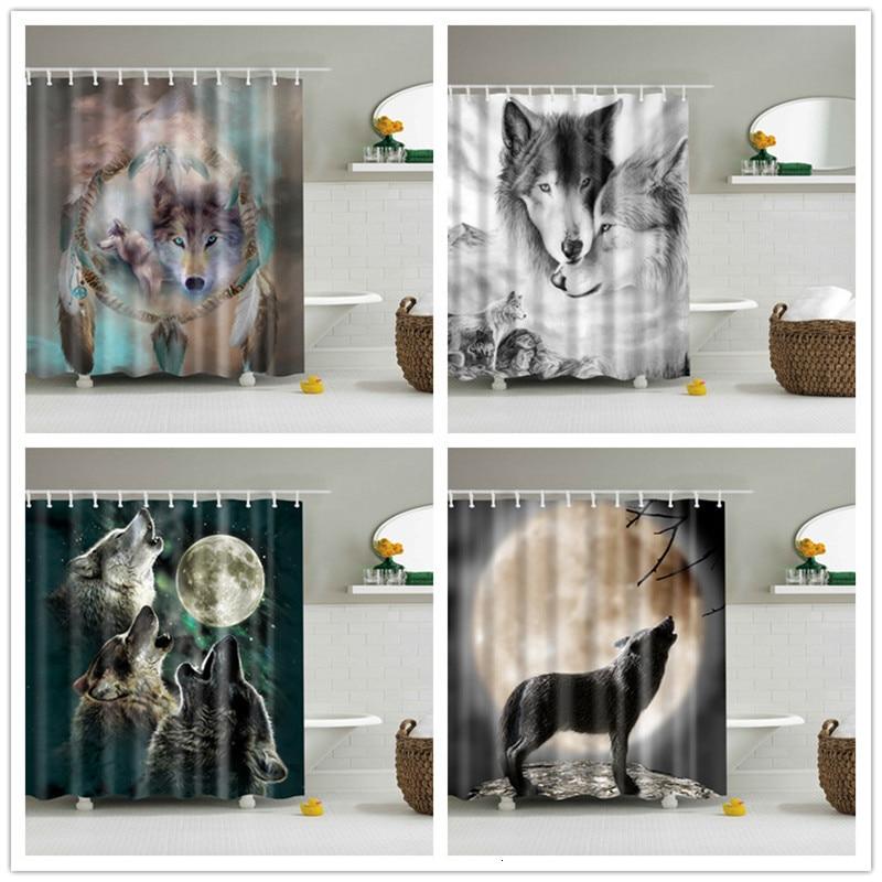 Lobos impresos 3d cortinas de ducha tela de poliéster impermeable Pantalla de baño cortina de baño cortinas de decoración de pantalla de baño con ganchos