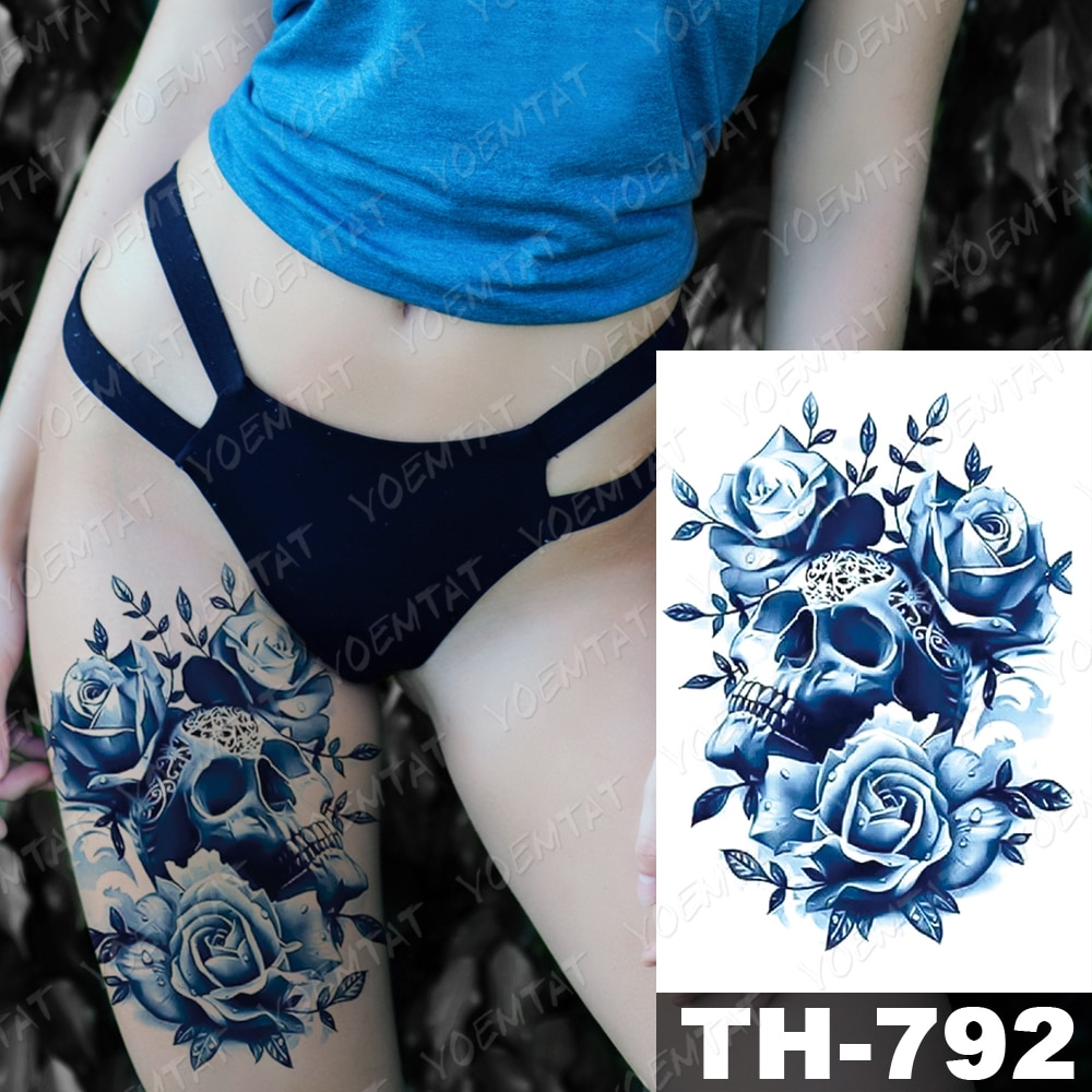Waterproof Temporary Tattoo Stickers Horse Peony Flower Flash Tattoos Female Arm Chest Thigh Body Art Fake Tatoo Male