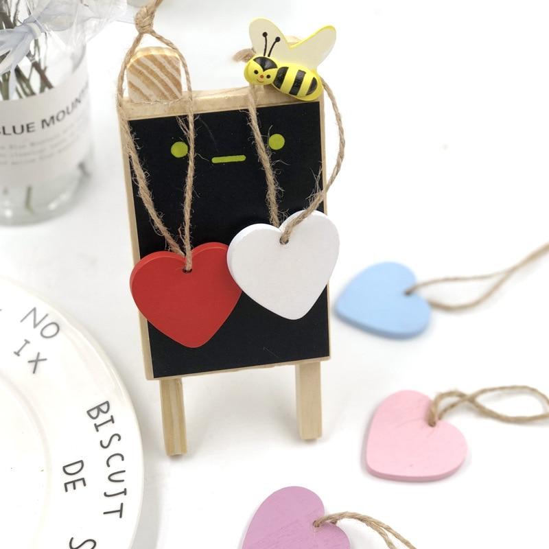 10pcs 4cm Wooden Love Heart Pendants DIY Crafts Solid Color Wood Heart Shape Christmas Tree Hanging Ornaments Wedding Birthday D