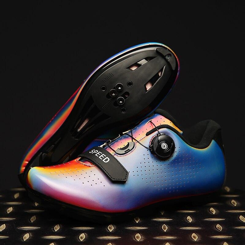 ¡Novedad! Zapatos de ciclismo iridiscentes de gran tamaño, zapatos de ciclismo profesionales autoblocantes, zapatos para exteriores de montaña y carretera, zapatos SPD para hombres
