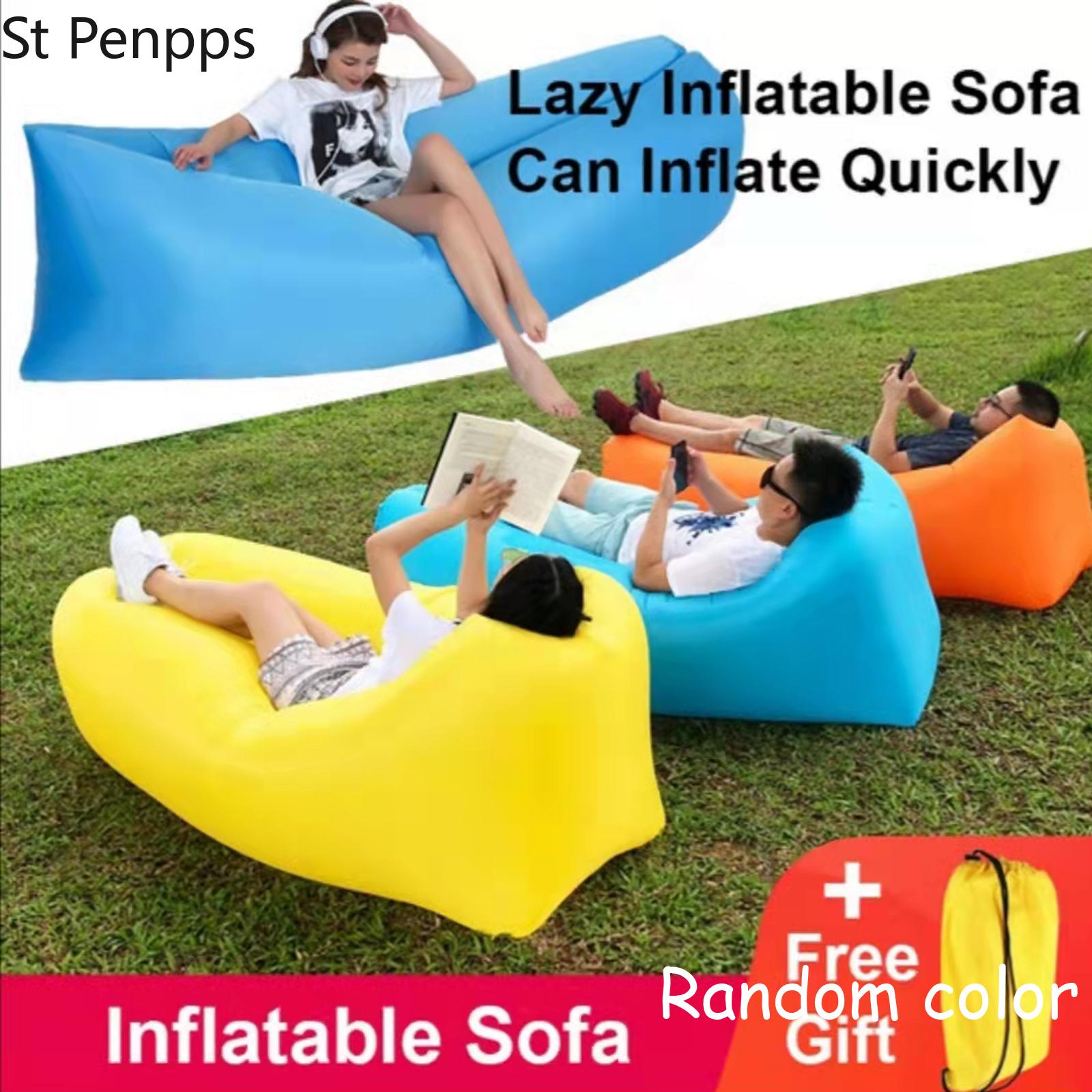 [해외] 캠핑 의자 해변 피크닉 풍선 소파 게으른 초경량 침낭 공기 침대, 소파 안락 야외 가구