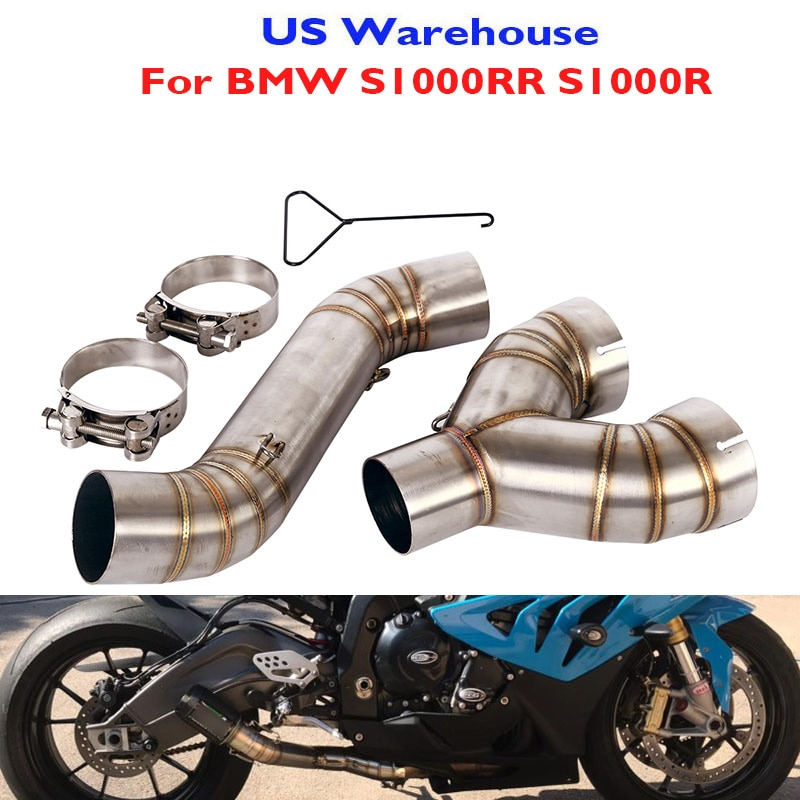 Motorcycle Exhaust System 60.5mm Mid Middle Connector Link Pipe for BMW S1000RR 2010-2014 S1000R 2010-2016