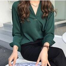 Koreaanse Stijl Vrouwen Casual V-hals Blouse Lange Mouwen Chiffon Werk Mode Losse Effen Kleur Kantoor Ol Shirt Tops K2