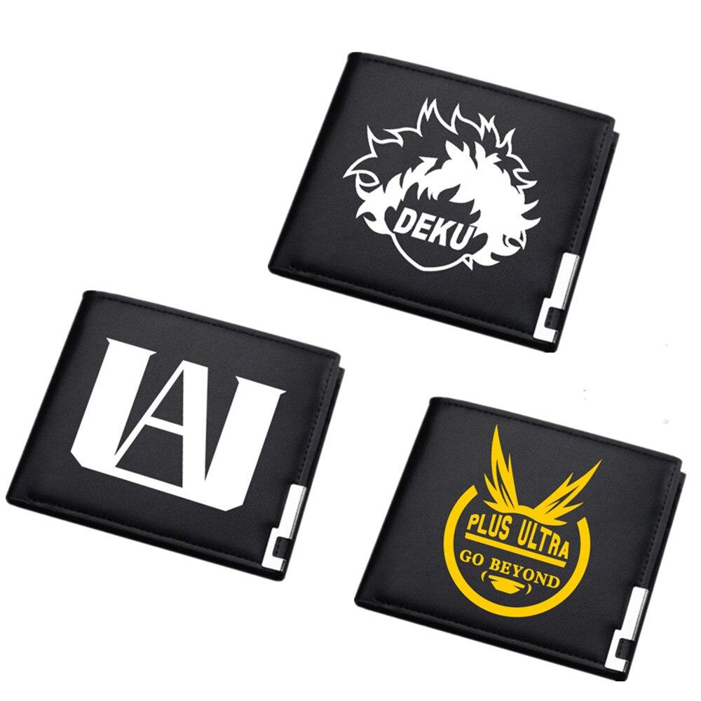Anime My Hero Academia Black Mens Wallet Short Bi-fold PU Student Wallet ID/Credit Card Holder Cartoon Purse