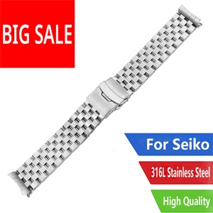 CARLYWET 22mm TOP Quality Hollow Curved End Solid Links Replacement Watch Band Strap Bracelet Double Push Clasp For Seiko SKX007