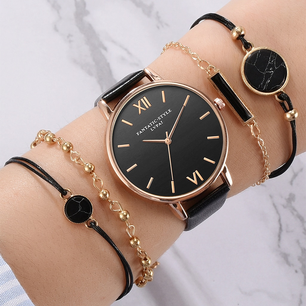 5pcs סט למעלה סגנון אופנה נשים של יוקרה רצועת עור אנלוגי קוורץ שעוני יד גבירותיי שעון נשים שמלה Reloj Mujer שחור שעון