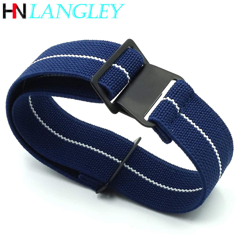 Elastic Band Sports French Troops Parachute Bag NATO Nylon Elastic Belt Watchband 18mm 20mm 22mm Watch Strap Military WristBand