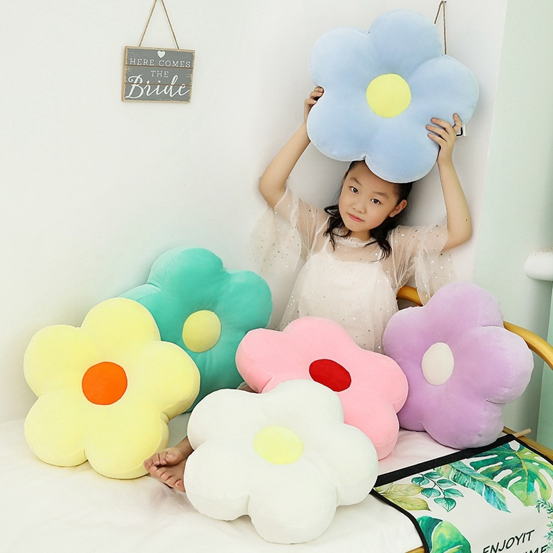 Lovely 40cm Fresh Colorful Flower Plush Pillow Toy Soft Cartoon Plant Stuffed Doll Chair Cushion Sofa Kids Lovers Birthday Gifts