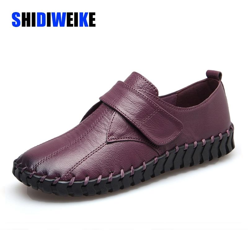 2021 الربيع السيدات جلد طبيعي اليدوية أحذية النساء هوك و حلقة حذاء مسطح النساء الخريف لينة المتسكعون الشقق