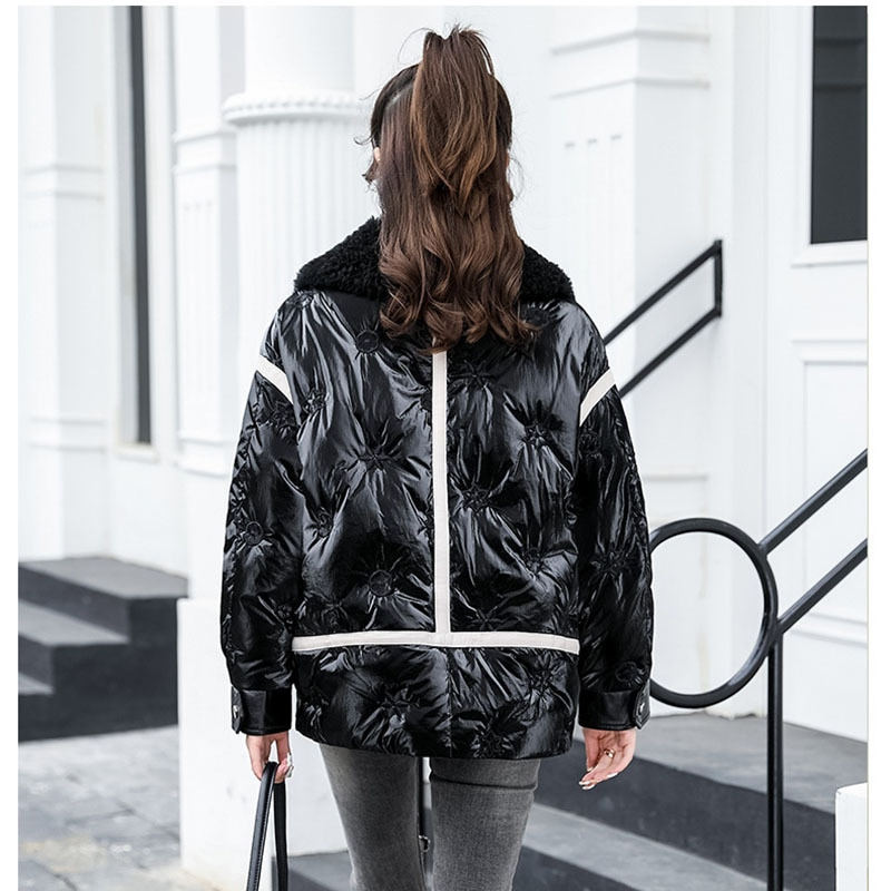 Winter Lamb Fur collar Coat Female Bright Lamb Fur Collar Stitching Parkas Thick Warm Loose Casual Oversized Women Short Jacket enlarge