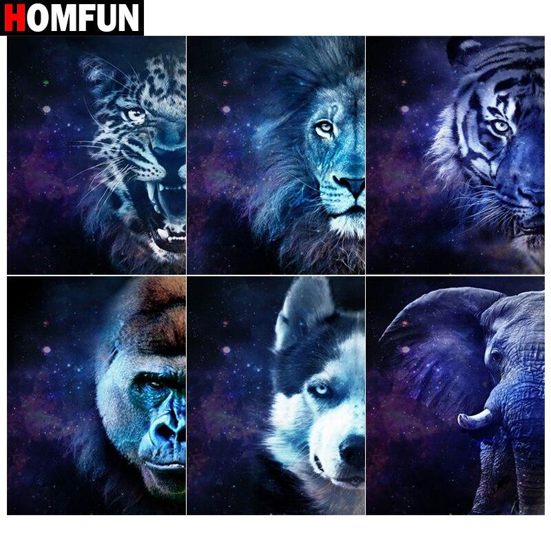 "HOMFUN 3D Pintura Diamante ""Besta tigre leão"" DIY Strass Completo Broca Quadrado Redondo Diamante Bordado ponto-Cruz Kits"