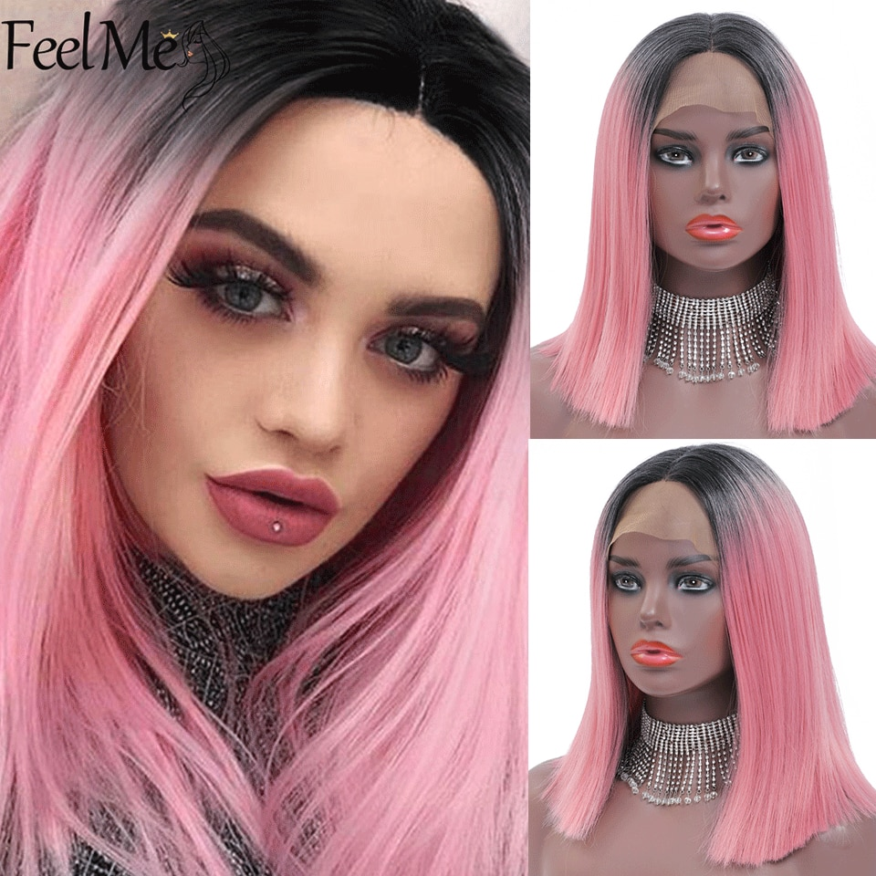 T Part Synthetic Wigs Heat Resistant Ombre Pink Straight Shoulder Length  FEEL ME HAIR For Black/Pink Women Cosplay Or Party