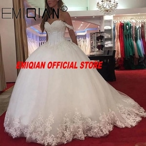Off the Shoulder Lace Applique Charming Sweetheart White Wedding Dress Custom Made Size Ball Gown Wedding Dresses