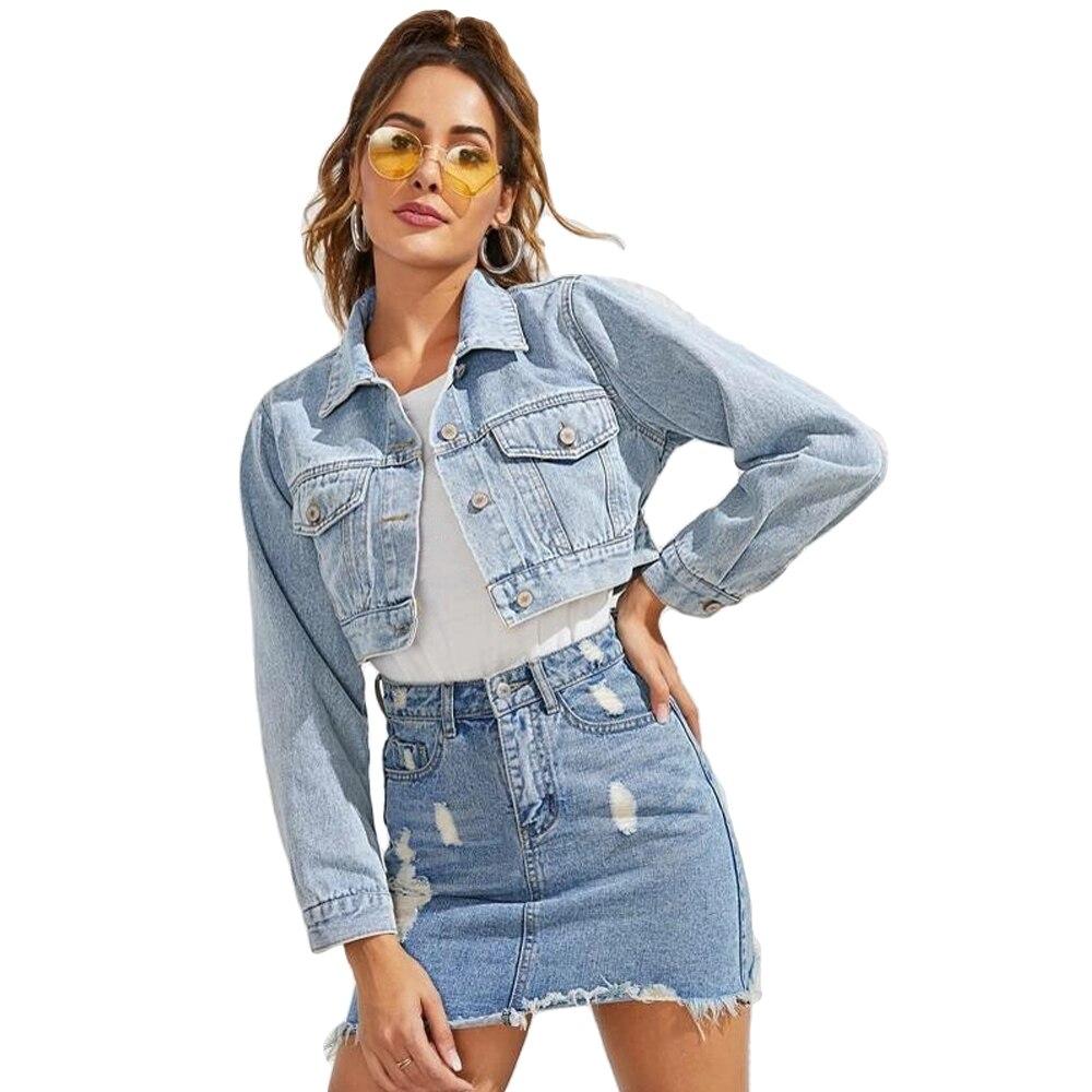 Azul recortado chaqueta de mezclilla mujeres primavera otoño Casual Single Breasted Jeans chaquetas ropa sólida abrigo corto prendas de vestir botones Top
