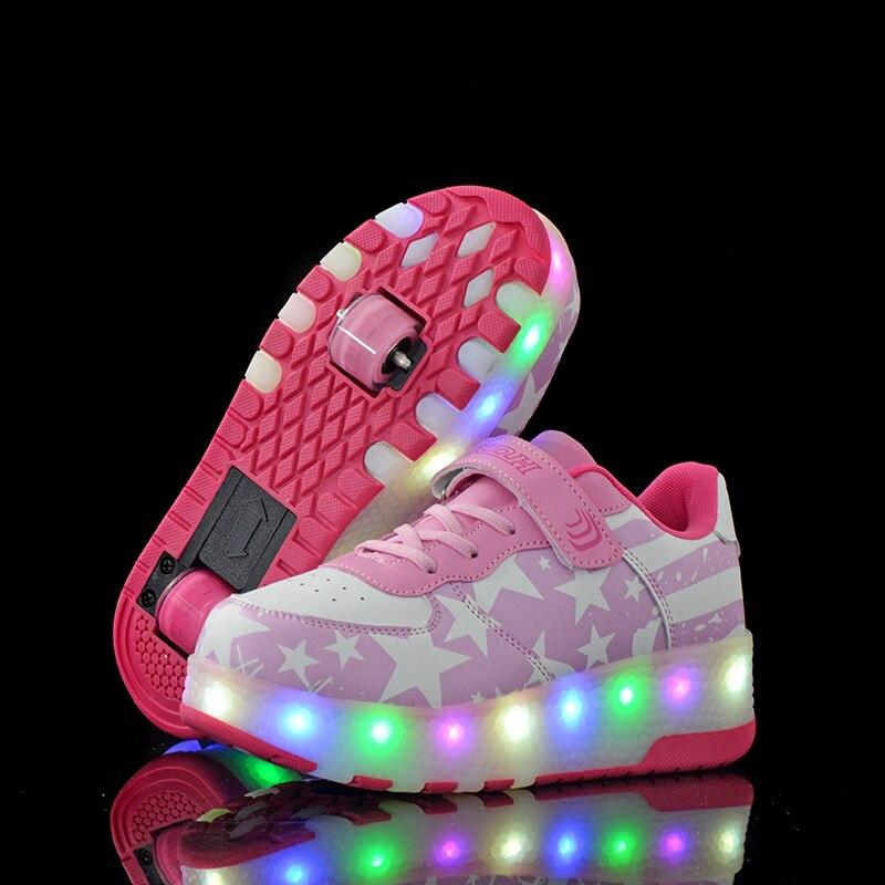 Venda quente crianças meninos sapatos shoese duas rodas crianças sapatos brilhantes tênis led light up crianças sapatos para menino menina brilhando sapato