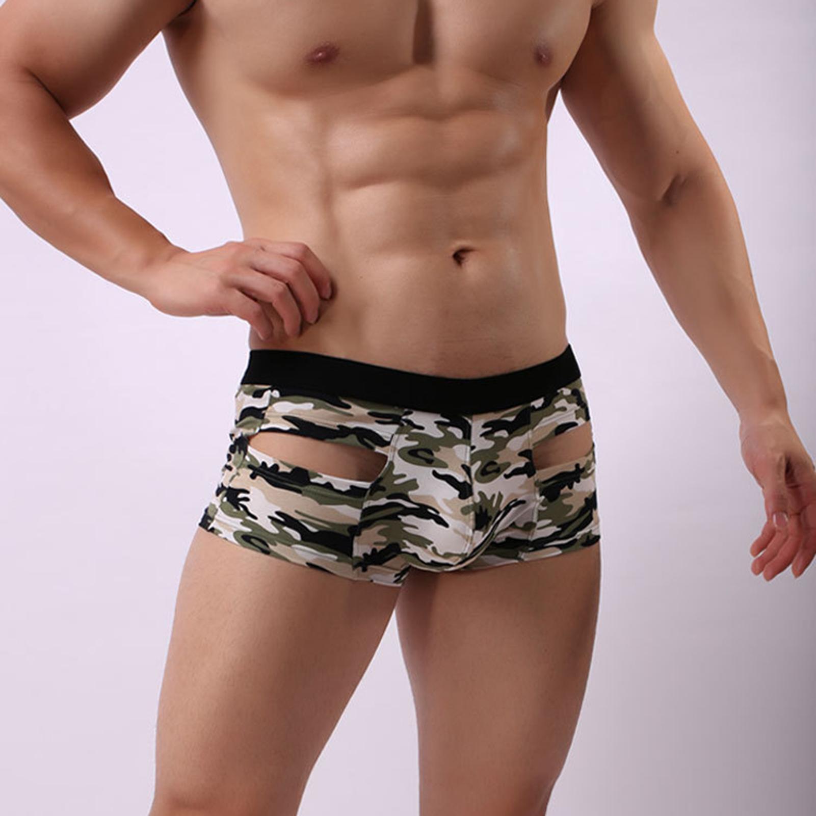 Men Sexy Mid Waist Camouflage Hollow U Convex Boxer Briefs Underwear Underpants