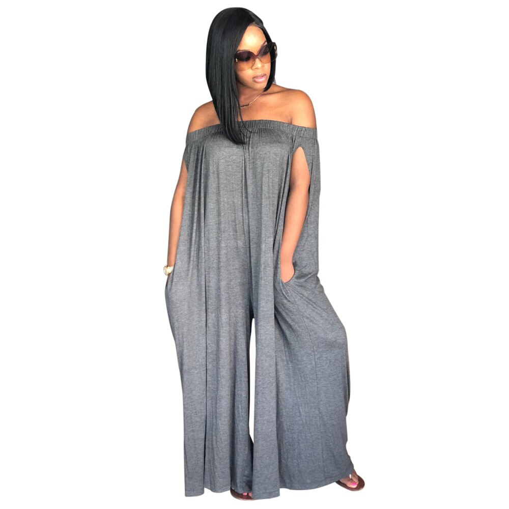 Adogirl Sexy Off Shoulder Chest Wrapped Solid Casual Loose Jumpsuit Women Wide Leg Pants Romper One Piece Playsuit Streetwear women sexy v neck jumpsuit casual wide leg stripe overalls off shoulder backless playsuit