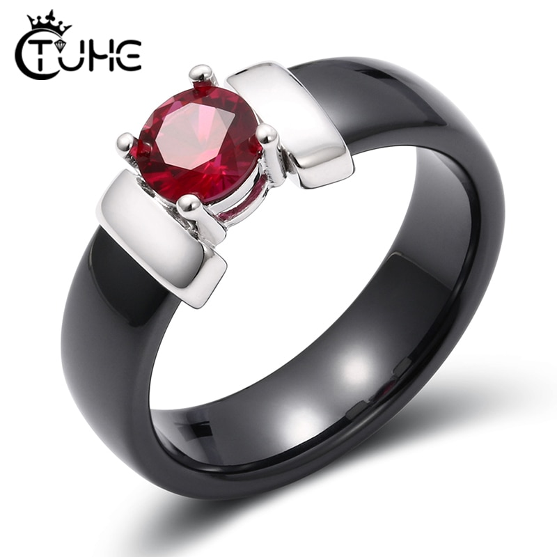 6mm Branco Anéis de Cerâmica Preto Mais Vermelho Cúbicos de Zircônia Para As Mulheres da Cor do Ouro de Aço Inoxidável Anel de Noivado de Casamento Das Mulheres jóias