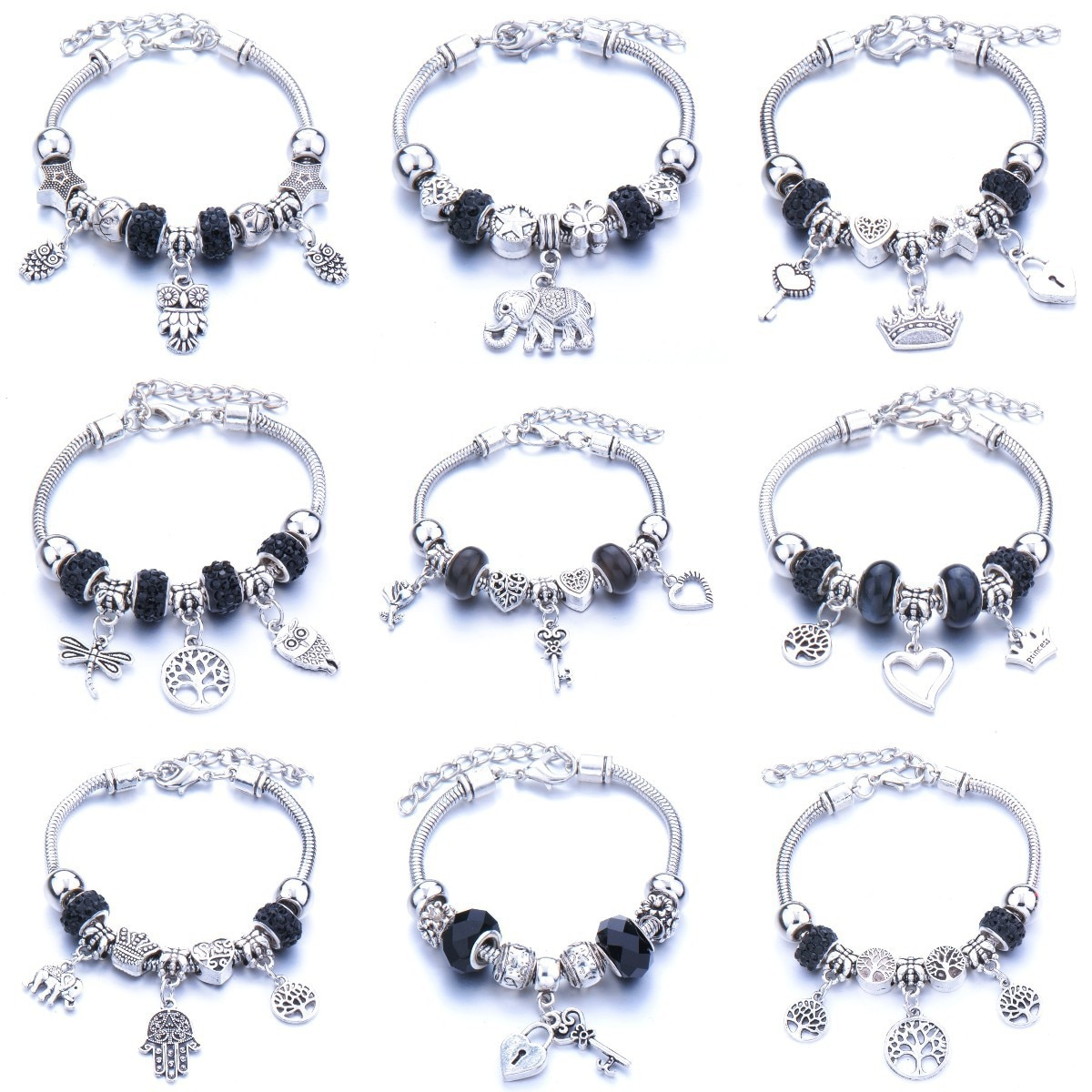 Vintage negro Árbol de la vida de la Corona pulseras del encanto para las mujeres cuentas de cristal finas pulseras de las mujeres joyería de la pulsera de Pandora