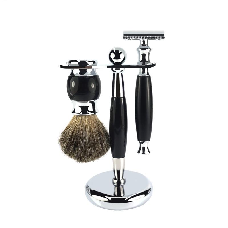 Professional Men's Razor Retro Manual Safety Shaving Razor Shaver Knife Sets +1 Holder Stand +1 Brush Gentleman Shaving Tool Set