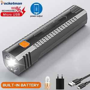 Portable Small Flashlight USB Rechargeable Flashlight With Output Power Bank Function Flashlight Torch With Built in Battery
