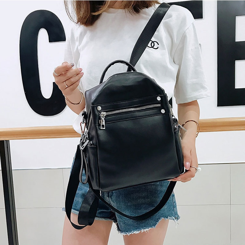 New Women's Backpack PU Leather Shoulder Bag Backpacks For Female Ladies Simple Fashion Desiger 2021 Women Solid Color Mochila