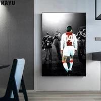 Affiche de Football en toile imprimee  peinture murale de joueur de Football en noir et blanc  tableau dart mural a la mode  decor de maison