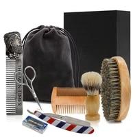 professional soft boar bristle wood beard brush barber shaving tool men mustache comb kit with gift bag beard hair comb set