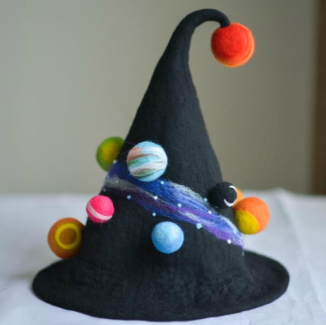 Handmade Wool Felt Hat Planet Witch Hat Peaked Wizard's Hat hat for men