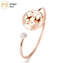 Pulsera difusora de aceites esenciales abierta oro rosa Acero inoxidable l316 brazaletes simples de acero para mujer joyería pulseras de loto