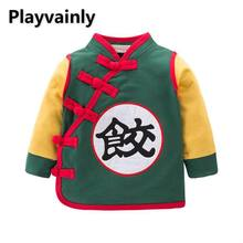 2021 New Baby Boys Girls Coat Green Chinese style Long Sleeve Coat Baby Spring Autumn Clothes E18211