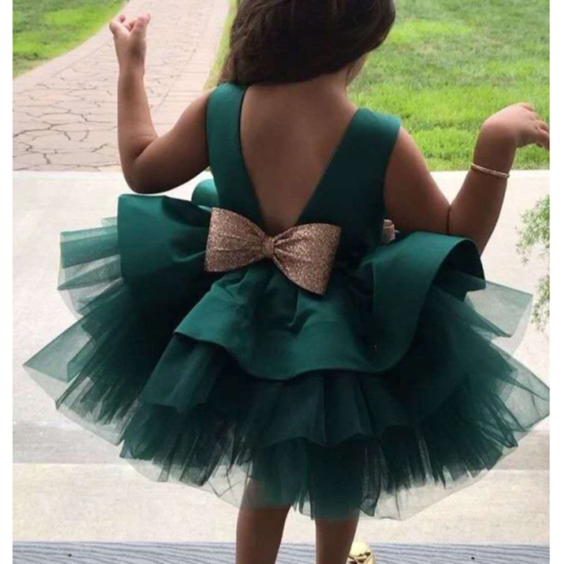 2021 Infant Baby Girl Dresses Girl Ball Gown Tutu Princess Dress Sequin Bow Baby Girl Dress 1st Birthday Wedding Party Dress newborn girl infant baby birthday wedding party dress ball gown princess lace up long sleeve front bow kids girl clothes