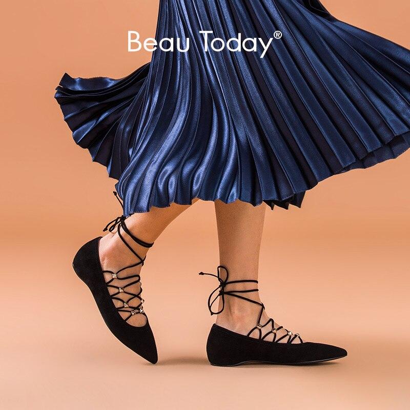 BeauToday zapatos Mary Jane genuino de las mujeres chico de cuero de gamuza punta Cruz-atado primavera mujer, pisos de Ballet, 18211 hecho a mano