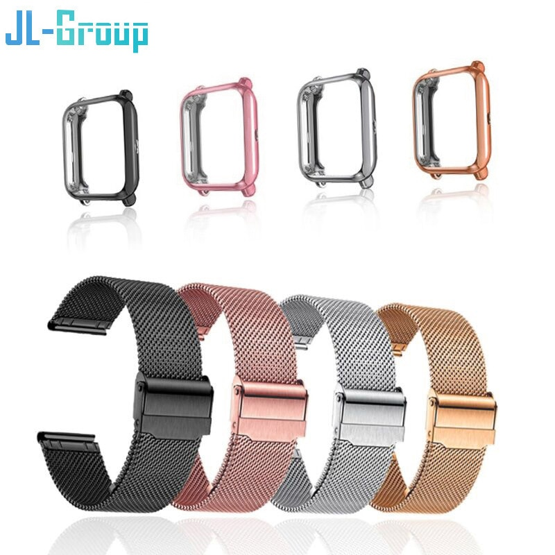 20mm Strap For Amazfit Bip S Lite GTS Band With Case Metal Bracelet Xiaomi Bip Film Screen Protector For Watchband Accessories