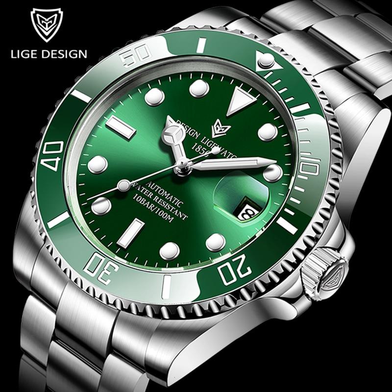2021 LIGE New Watch Men Automatic Mechanical Tourbillon Clock Fashion Sport Diving Watch 100ATM Wate